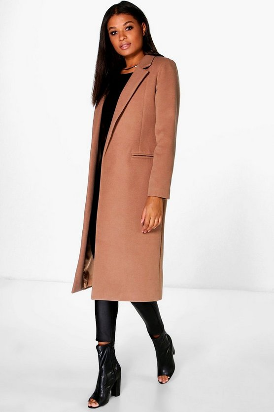 Womens Camel Tailored Coat