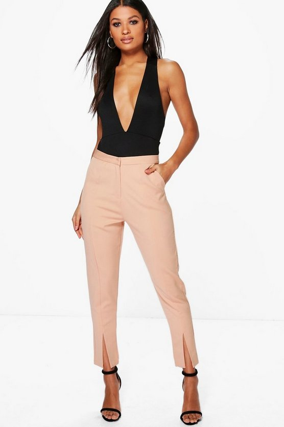 Split Front Woven Tailored Trousers