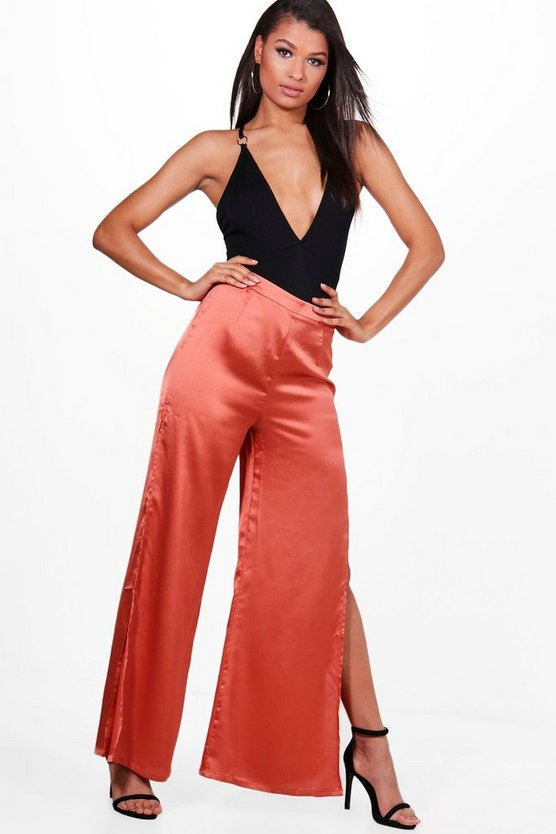 Neave Satin Side Split Wide Leg Trousers