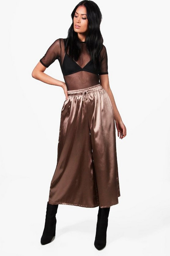 Satin Drawcord Waist Wide Leg Cropped Trousers