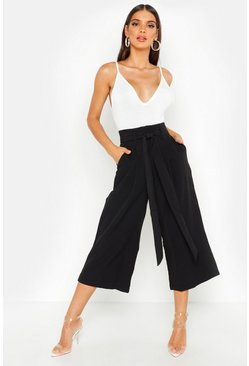 Black Pleated Waist Wide Leg Culottes