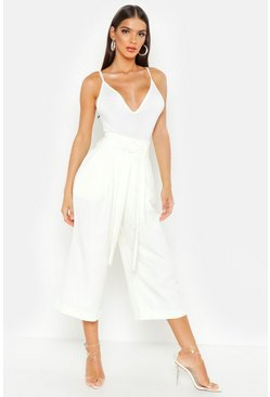 Womens Ivory Pleated Waist Wide Leg Culottes