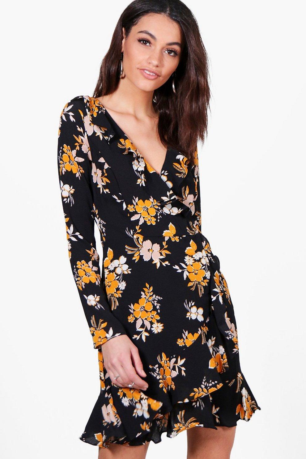 f450fe76a41e Jade Floral Ruffle Wrap Tea Dress   Boohoo