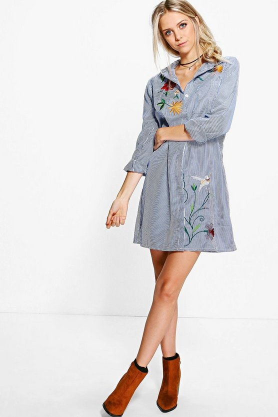 Embroidered Stripe Shirt Dress