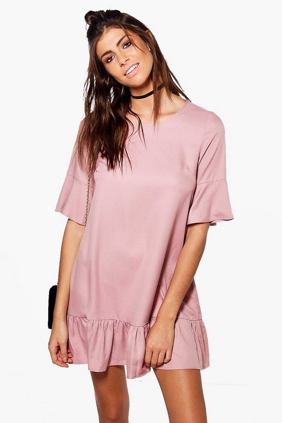 Faith Ruffle Flute Sleeve Shift Dress
