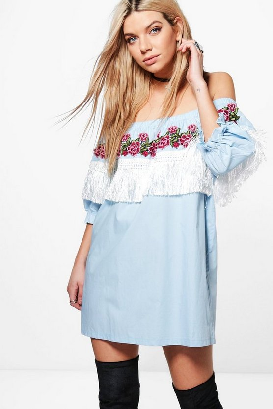 Callie Embroidered Tassel Shift Dress