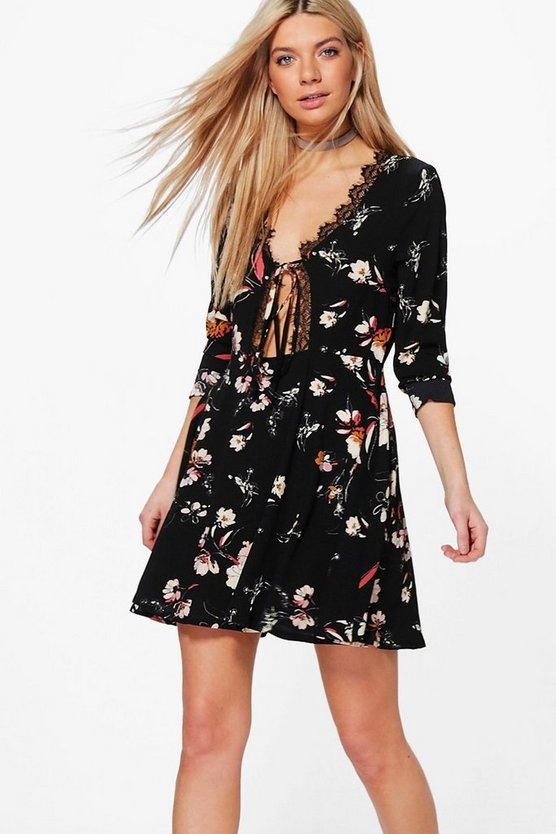 CeCe Tie Front Lace Trim Skater Dress