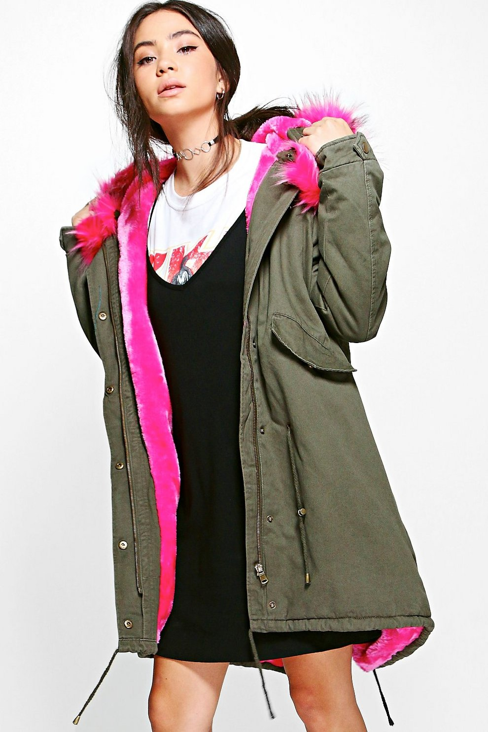 801994eef249 Lily Faux Fur Lined Hooded Parka | Boohoo
