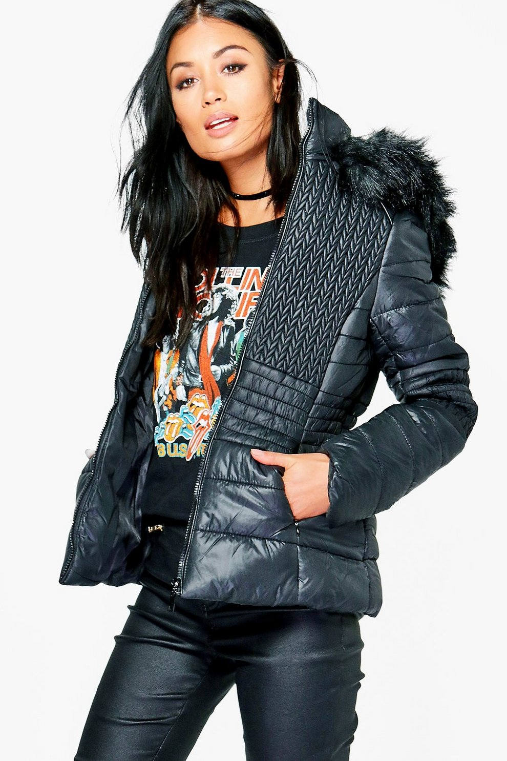 Grace Padded Jacket With Faux Fur Hood Boohoo