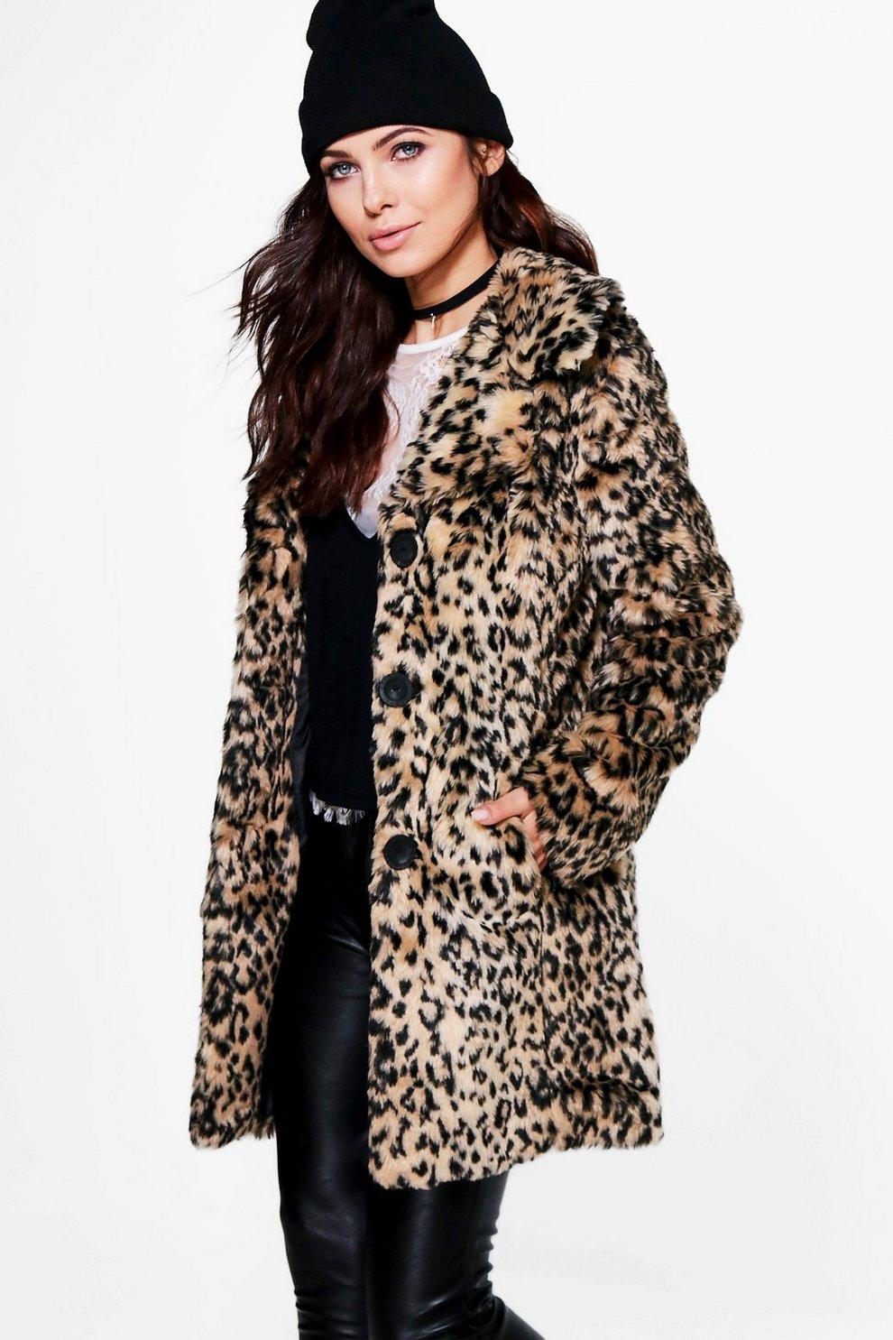 49a890106197 Anna Leopard Print Faux Fur Coat