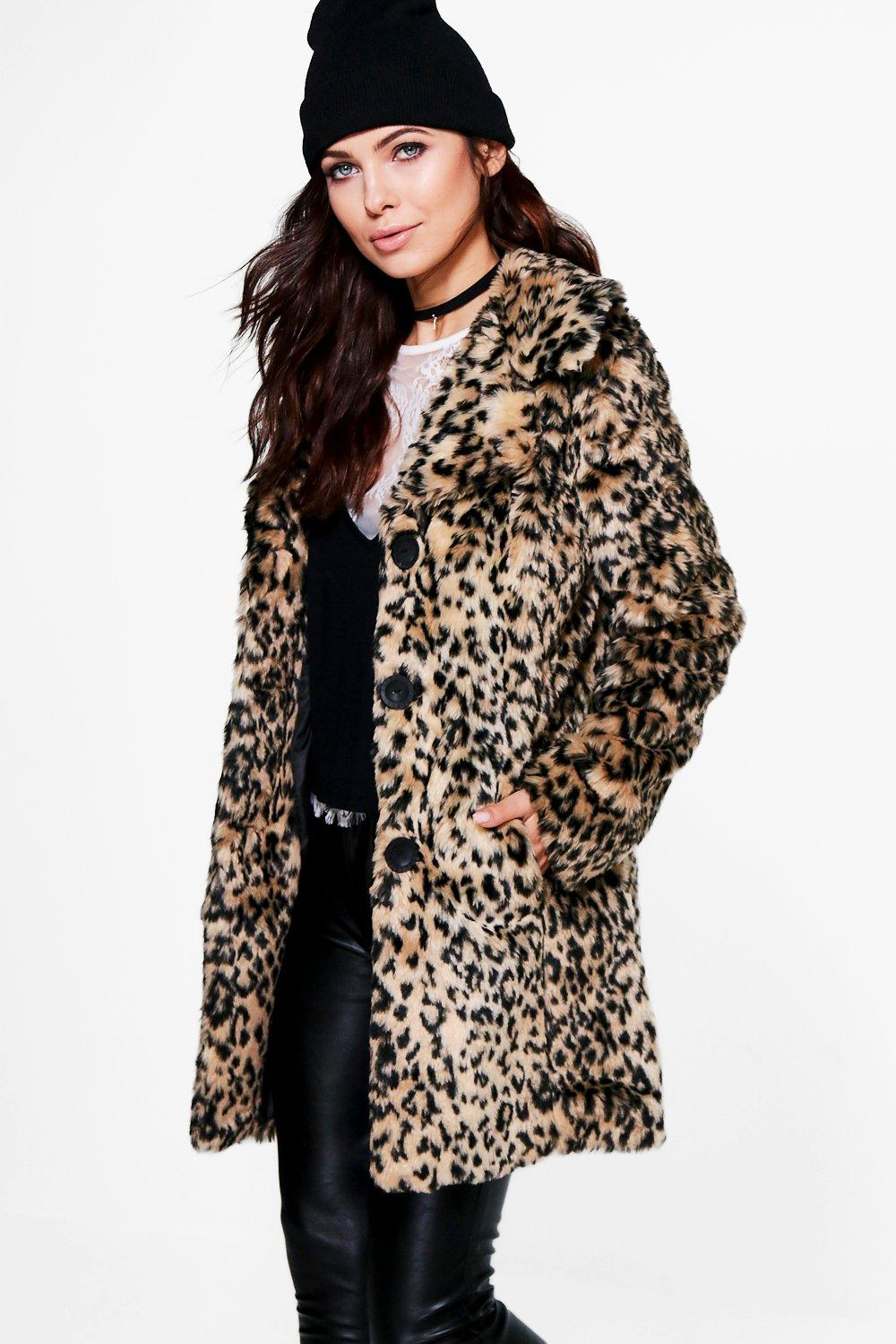 cf876d6778 Anna Leopard Print Faux Fur Coat. Hover to zoom