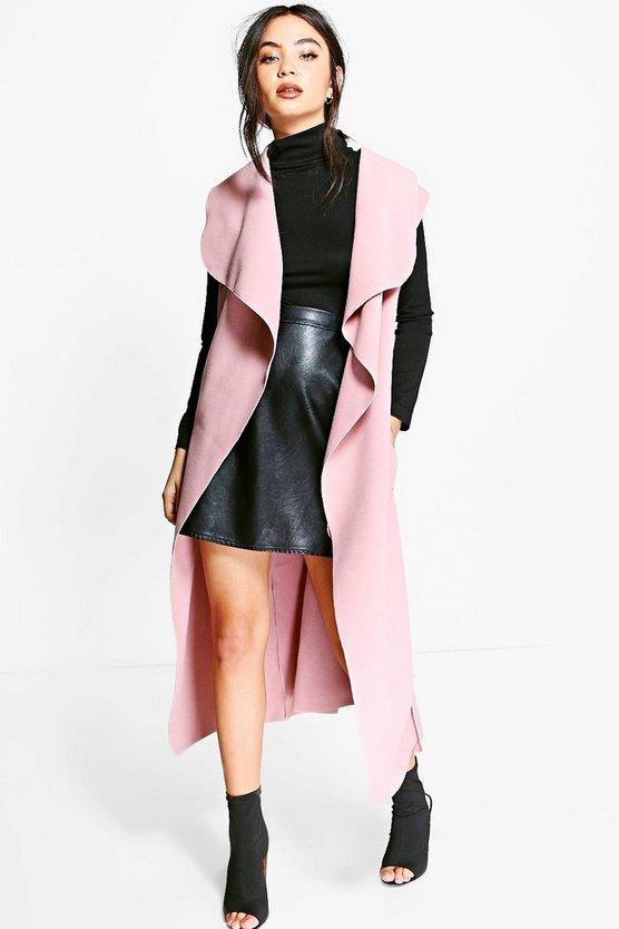 Olivia Sleeveless Waterfall Coat by Boohoo