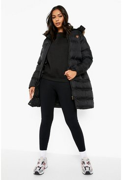 Womens Black Longline Padded Hooded Jacket