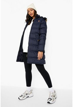 Womens Navy Longline Padded Hooded Jacket