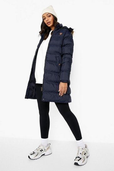 Navy Longline Padded Hooded Jacket