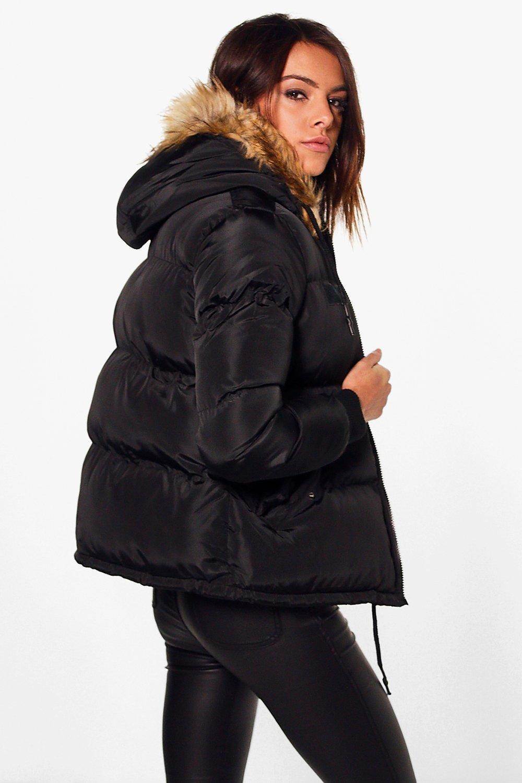 Boohoo Womens Libby Crop Padded Jacket With Faux Fur Hood Ebay