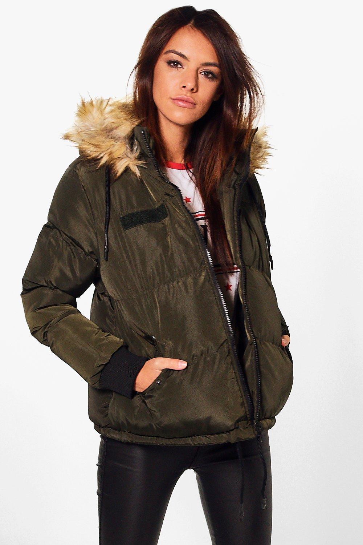 Libby Crop Padded Jacket With Faux Fur Hood Boohoo