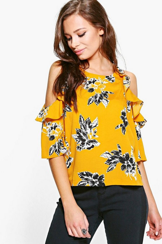 Layla Floral Printed Cold Shoulder Top