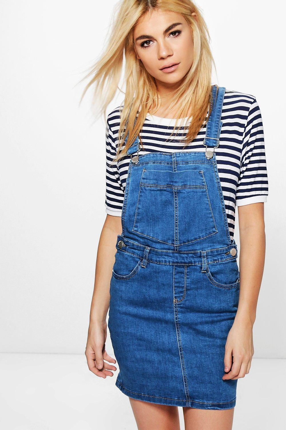 sale uk special promotion new selection Penny Stretch Denim Pinafore Dress | Boohoo