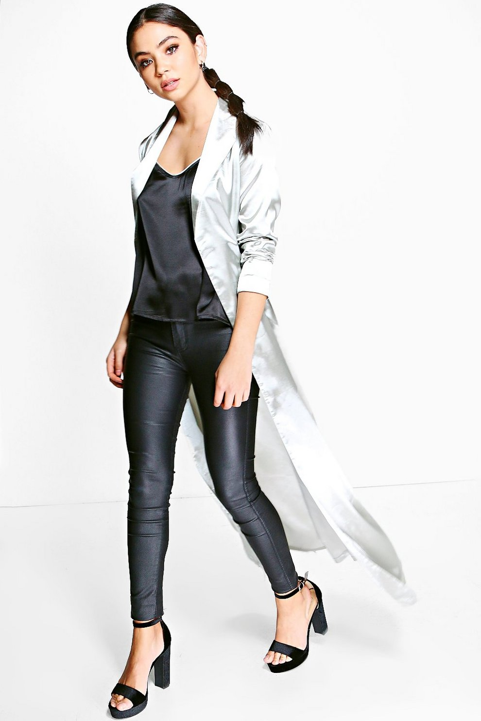 6744e8409cd1 Abigail Belted Satin Duster   Boohoo