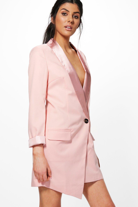 vestido blazer tejido entallado estilo esmoquin lara | Boohoo
