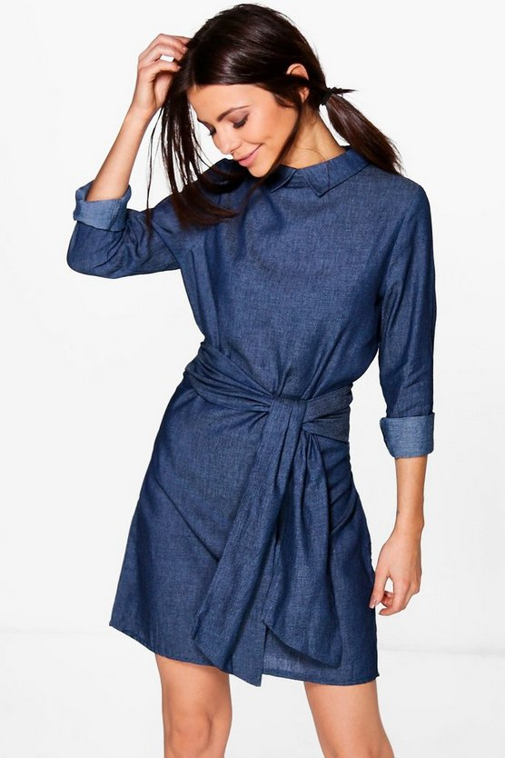 Rosie Denim-Kleid in Chambray-Optik mit Taillenbindung