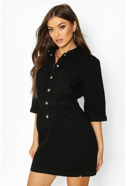 Womens Black Popper Front Denim Dress