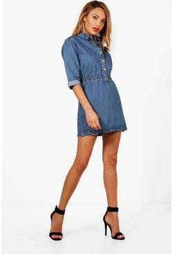 Womens Mid blue Popper Front Denim Dress
