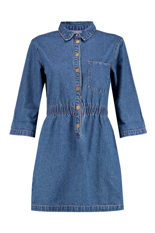 medio con por Vestido Azul delante broches denim nZqzwwOfH0