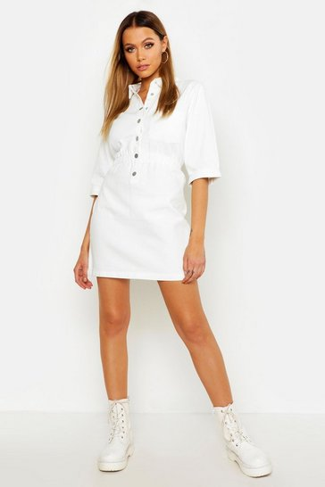 Womens White Popper Front Denim Dress
