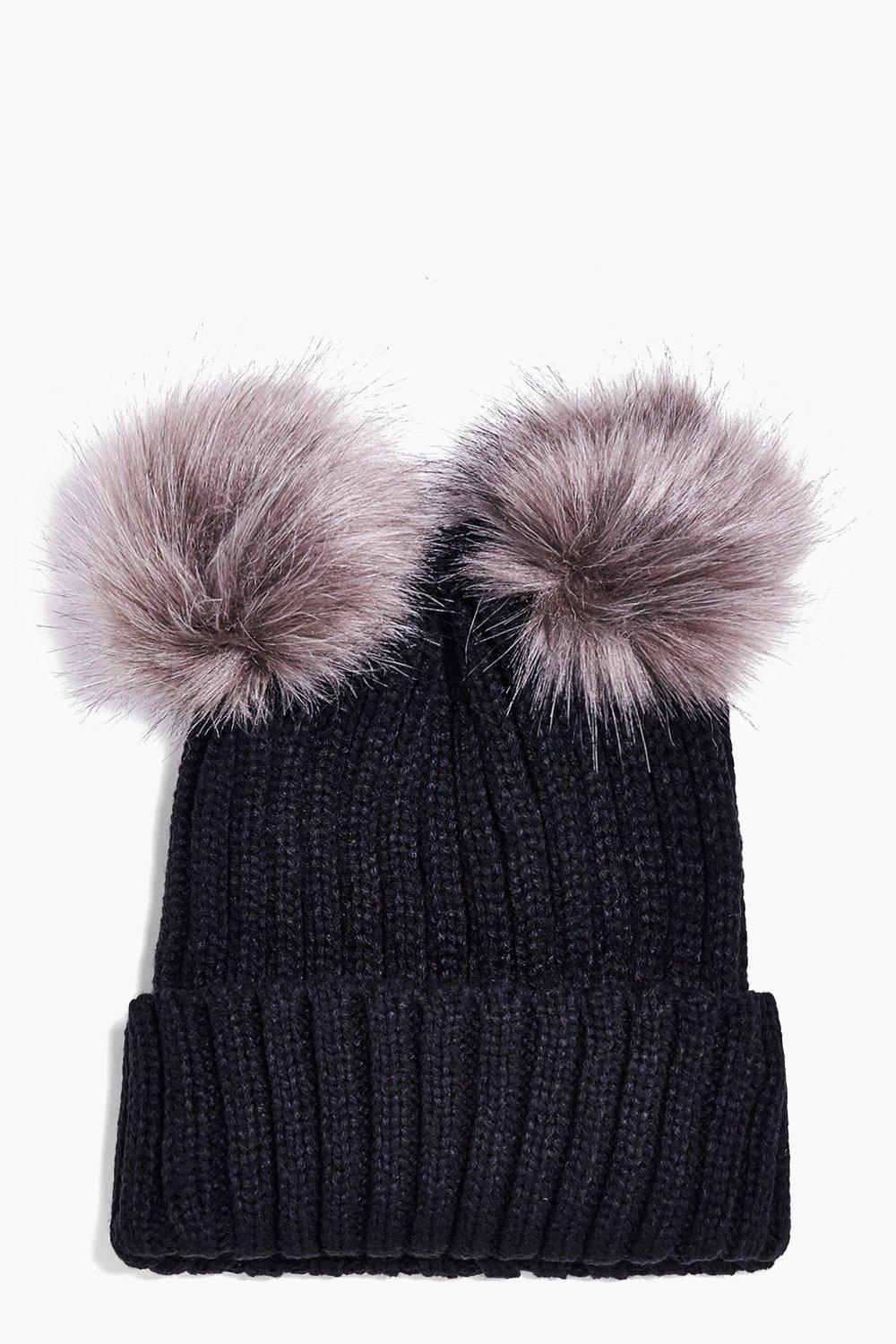 Violet Double Faux Fur Pom Beanie Hat. Hover to zoom e958443e23c