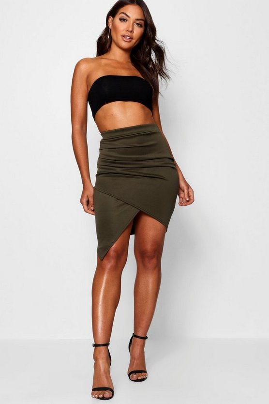 Womens Khaki Rouched Side Asymetric Skirt