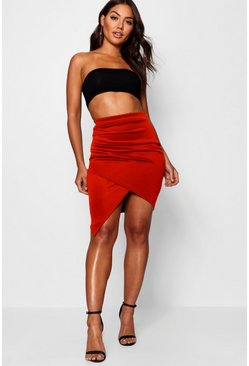 Red Rouched Side Asymetric Skirt