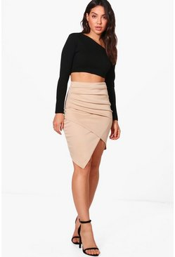 Womens Sand Rouched Side Asymetric Skirt