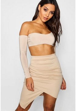 Taupe Rouched Side Asymetric Skirt