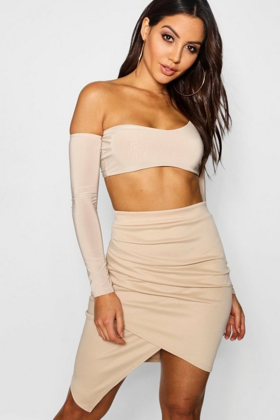 Womens Taupe Rouched Side Asymetric Skirt