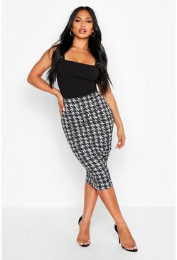 Black Monochrome Check Midi Skirt