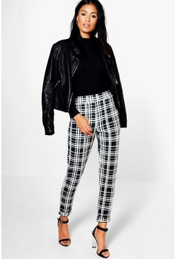 Womens Black Monochrome Dogtooth Skinny Stretch Trousers