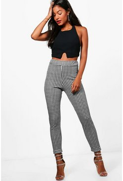 Womens Black Monochrome Check Skinny Stretch Trousers