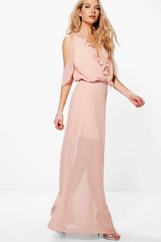 Maddison Ruffle Open Shoulder Maxi Skirt Co-Ord