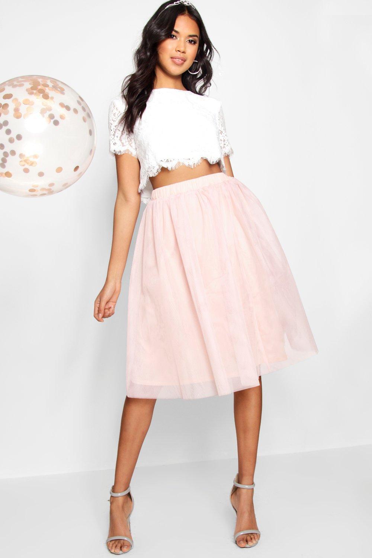 falda rubor en Rosa de Conjunto de y contraste tejido top encaje midi HnFPgxA