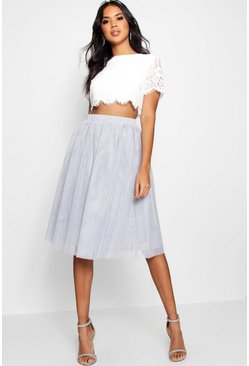 Womens Grey Woven Lace Top & Contrast Midi Skirt Co-Ord