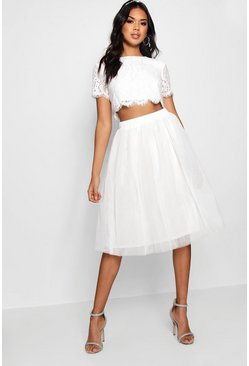 Womens White Woven Lace Top & Contrast Midi Skirt Co-Ord