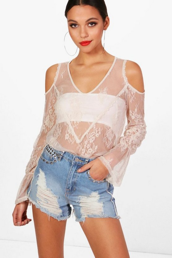 Lace Frill Cold Shoulder Top