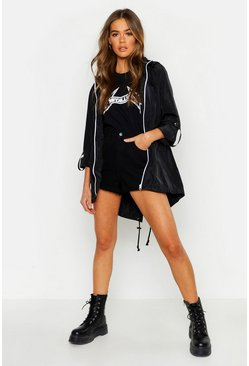 Womens Black Mac With Detachable Hood