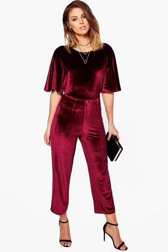 Kelly Velvet Batwing Open Back Detail Jumpsuit