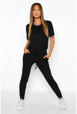 Womens Black Sports Trim Jumpsuit