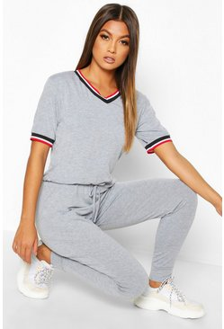 Womens Grey Sports Trim Jumpsuit