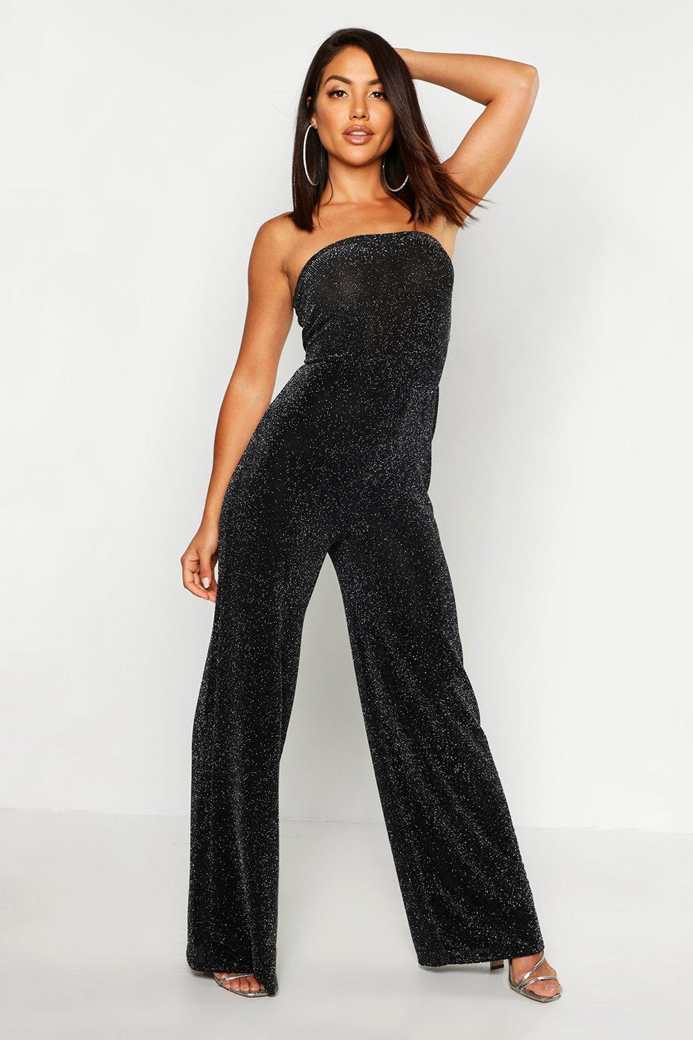 70s Outfits – 70s Style Ideas for Women Womens Strapless Wide Leg Sparkle Jumpsuit - black - 14 $42.00 AT vintagedancer.com