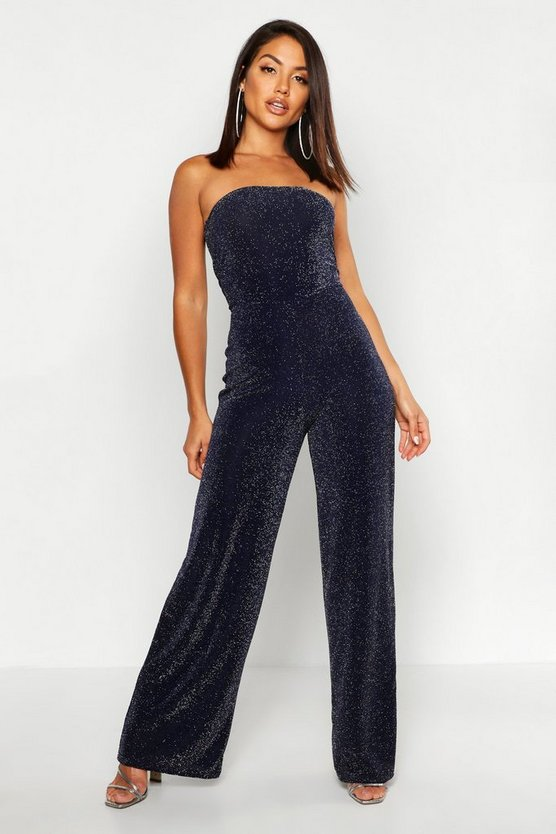 Womens Navy Strapless Wide Leg Sparkle Jumpsuit